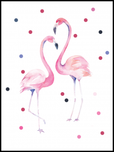 Plakat flamingos on a walk