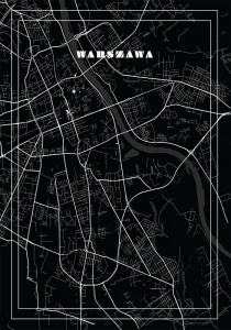 Plakat mapa Warsaw by night