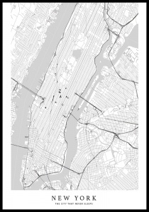 Plakat new york mapa white