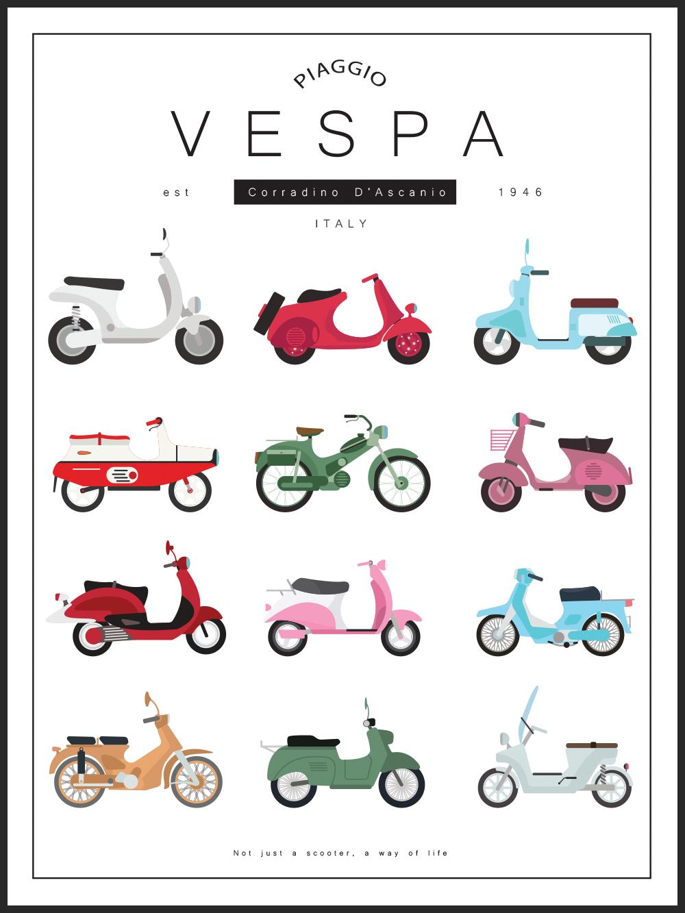 Poster Vespa En Bluebird Design