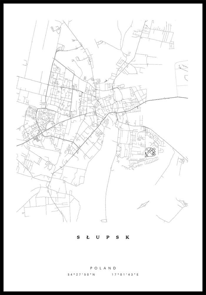 Plakat Mapa Slupsk Bluebird Design